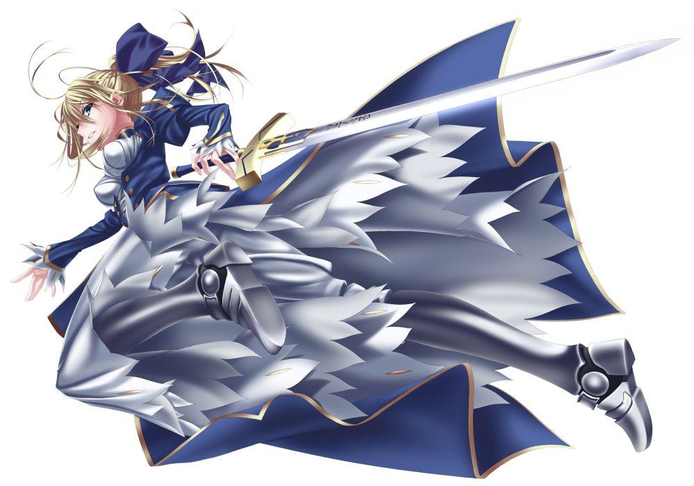 aqua eyes armor blonde hair bow doa (pixiv7798) dress fate stay night fate zero long hair saber sword weapon wallpaper
