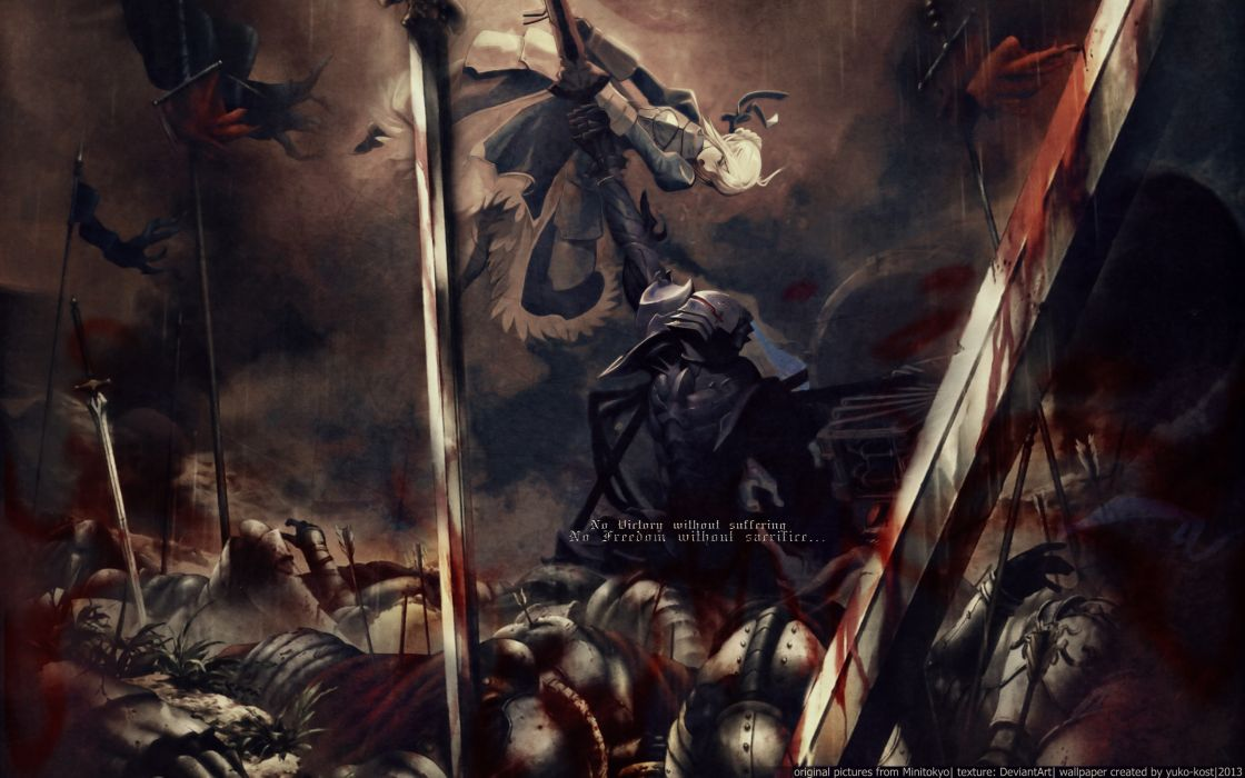 armor blonde hair blood fate stay night fate zero saber short hair sword weapon zero berserker wallpaper