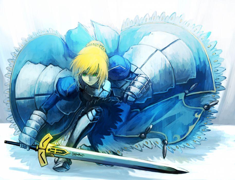 armor blonde hair blue dress excalibur fate stay night fate zero green eyes nkmr8 saber short hair sword weapon wallpaper