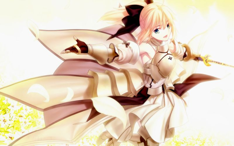 armor blonde hair bow dress fate stay night fate unlimited codes ponytail saber lily weapon wallpaper