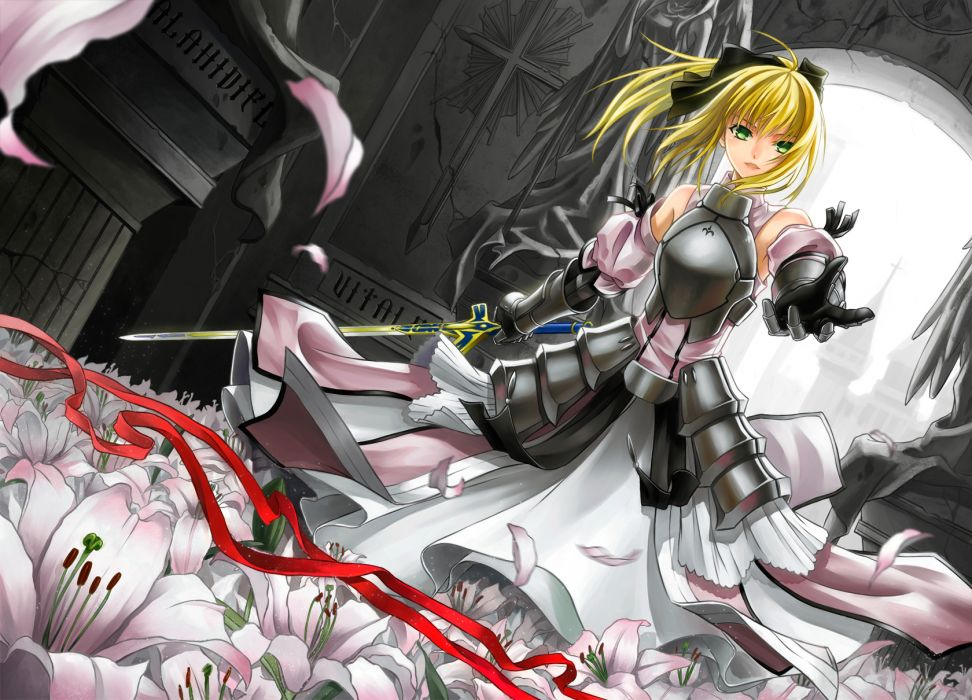 armor blonde hair cross akiha fate stay night flowers saber saber lily sword weapon wallpaper