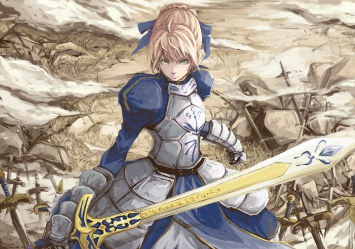 armor dress fate stay night green eyes ripu saber sword tagme weapon wallpaper