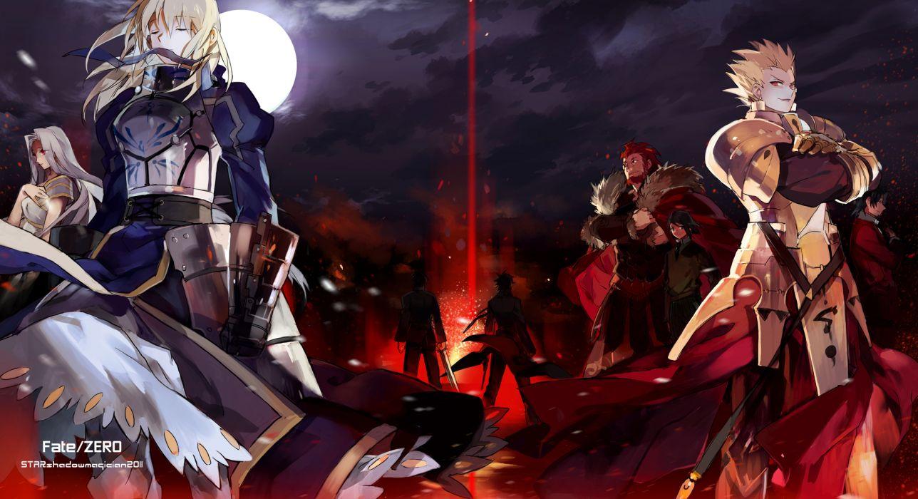 armor emiya kiritsugu fate stay night fate zero gilgamesh kotomine kirei moon night rider saber sword tohsaka tokiomi waver velvet weapon wallpaper