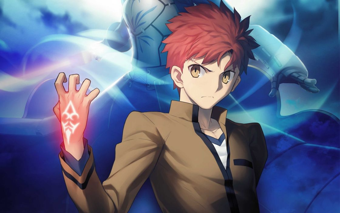 Armor Emiya Shirou Fate Stay Night Jpeg Artifacts Red Hair Saber Short Takeuchi Takashi Yellow
