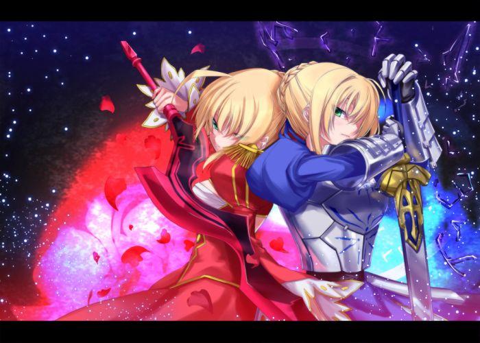 armor fate extra fate stay night kyougoku touya saber saber extra sword weapon wallpaper