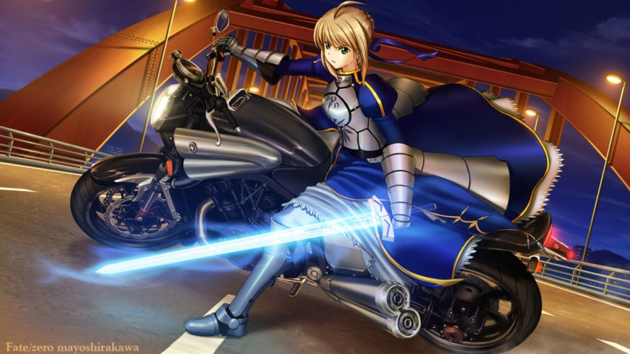 armor fate stay night fate zero motorcycle saber shirakawa mayo sword weapon wallpaper