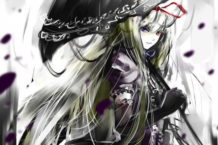 bicolored eyes blonde hair blue eyes dress gloves long hair red eyes ribbons touhou umbrella yakumo yukari wallpaper