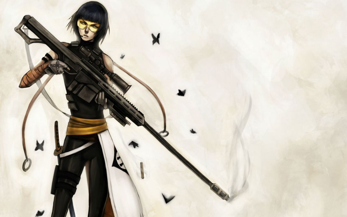 black hair bleach butterfly gloves gun microphone ninjatic short hair soifon sword weapon yellow eyes wallpaper