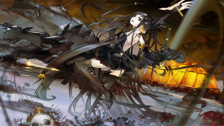 black hair dragon el-zheng fate apocrypha fate stay night semiramis stockings thighhighs wallpaper