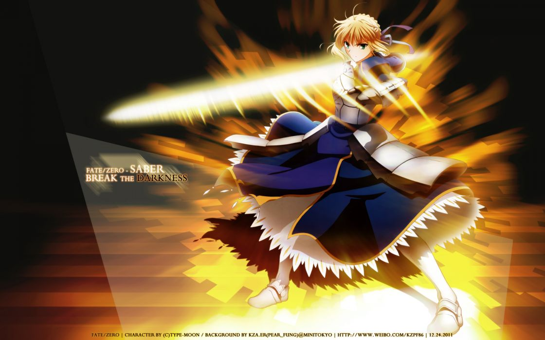 blonde hair dress fate stay night fate zero green eyes ribbons saber sword weapon wallpaper