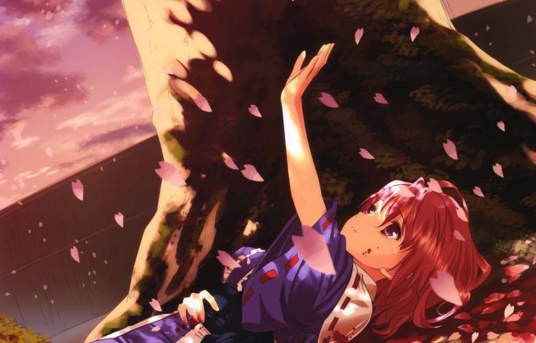 blood cherry blossoms japanese clothes kamikire basami petals pink hair red eyes saigyouji yuyuko scan short hair sunset tears touhou tree yasuyuki wallpaper