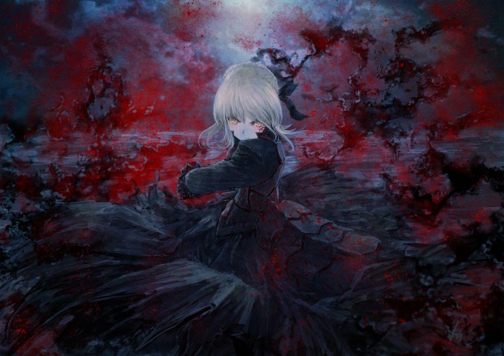 blood dress fate stay night heiyuen saber saber alter wallpaper
