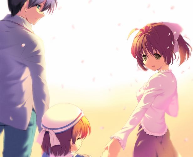blue eyes blue hair brown eyes brown hair clannad furukawa nagisa hat okazaki nagisa okazaki tomoya okazaki ushio wallpaper
