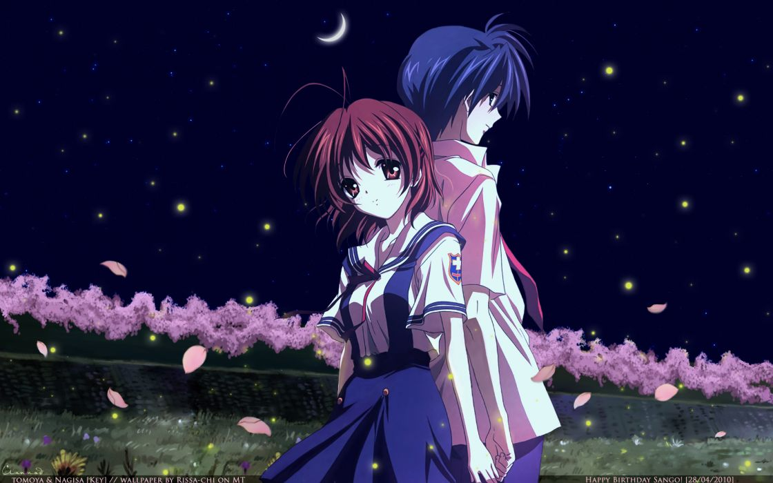 blue hair brown hair cherry blossoms clannad flowers furukawa nagisa moon night okazaki tomoya sky stars wallpaper