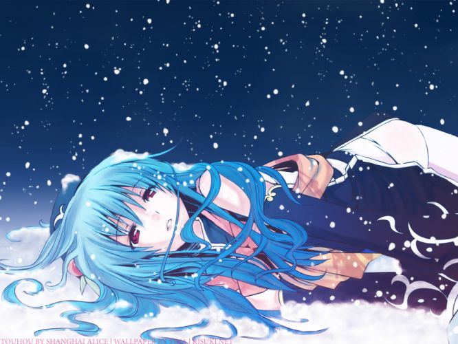 blue hair chinese dress eretto hat hinanawi tenshi long hair night red eyes snow thighhighs touhou wallpaper