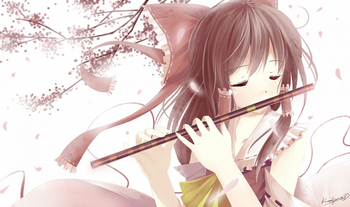 brown hair caidychen flute hakurei reimu instrument japanese clothes long hair miko ribbons touhou wallpaper