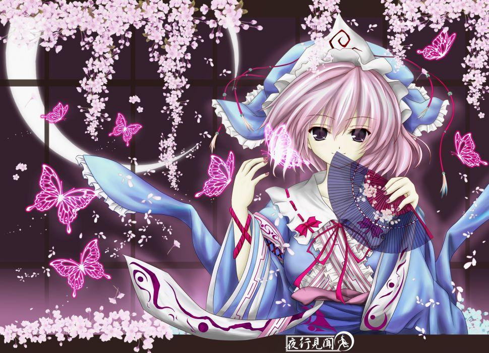 butterfly cherry blossoms fan hat japanese clothes kimono moon petals pink hair purple eyes ribbons saigyouji yuyuko short hair touhou wallpaper