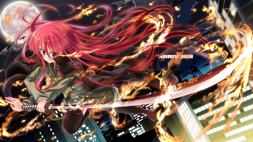clouds fire katana long hair moon necklace night red eyes red hair saikikazuya seifuku shakugan no shana shana sky sword thighhighs weapon wallpaper