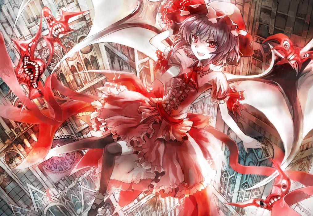 dress hat red eyes remilia scarlet thighhighs touhou ultimate asuka wings wallpaper