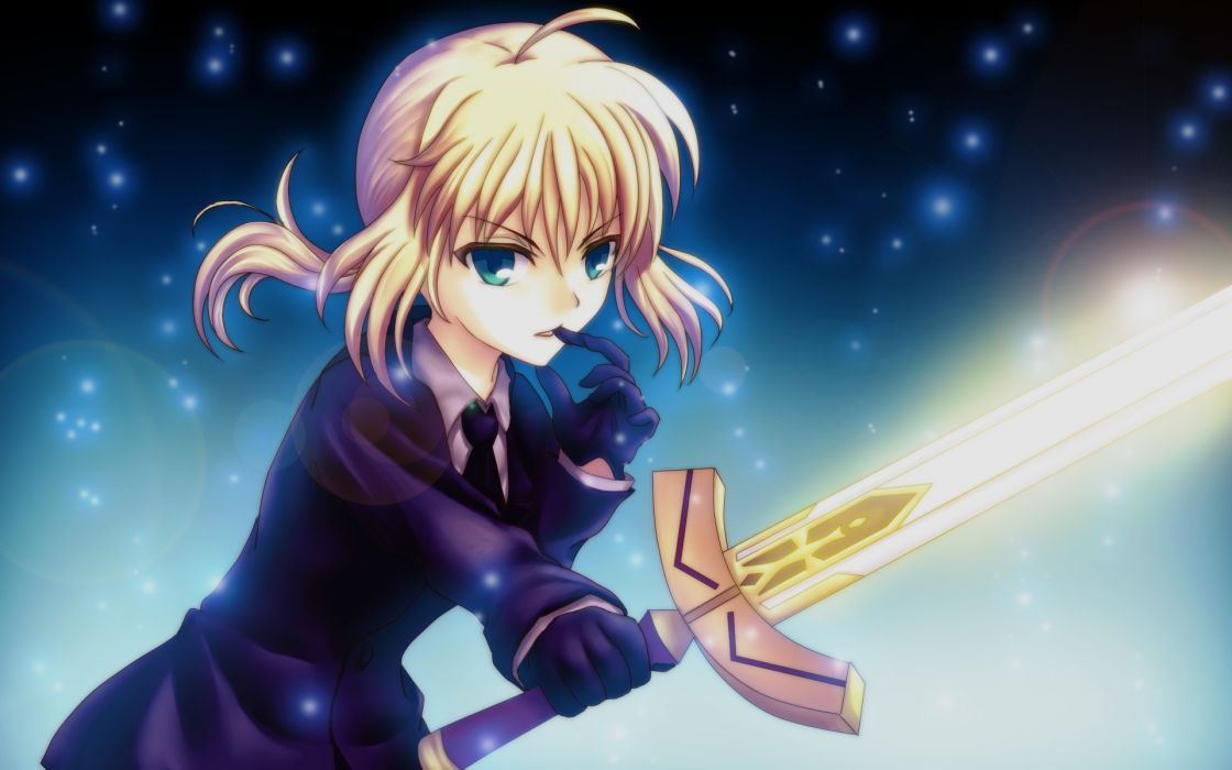 fate stay night fate zero gloves saber suit sword weapon wallpaper