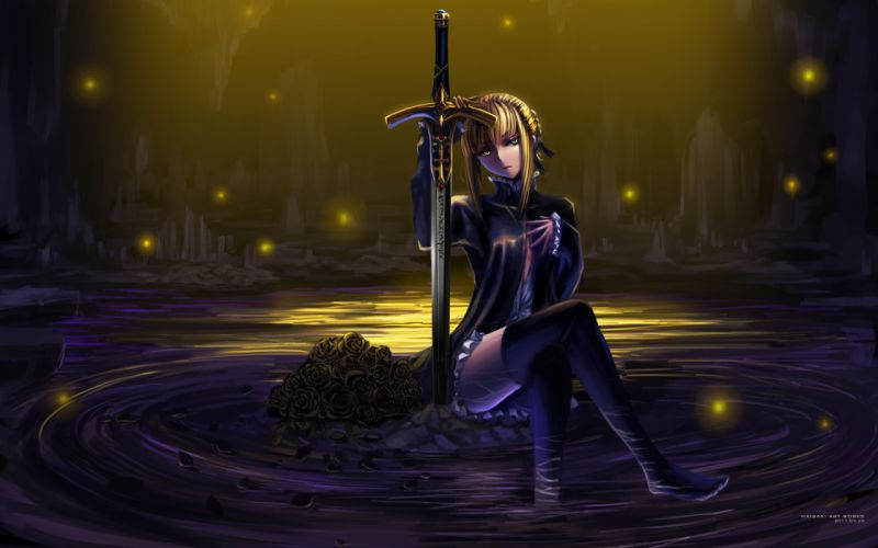 fate stay night flowers maisaki rose saber saber alter sword weapon wallpaper