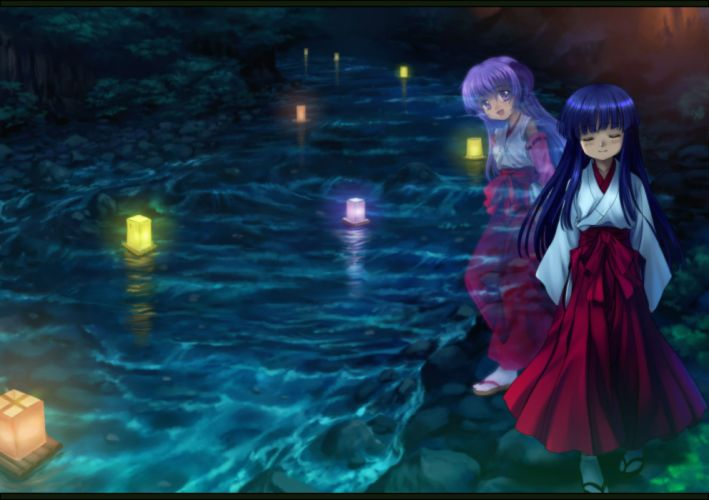 girls blue hair furude rika hanyuu higurashi no naku koro ni horns japanese clothes long hair miko purple eyes purple hair wallpaper