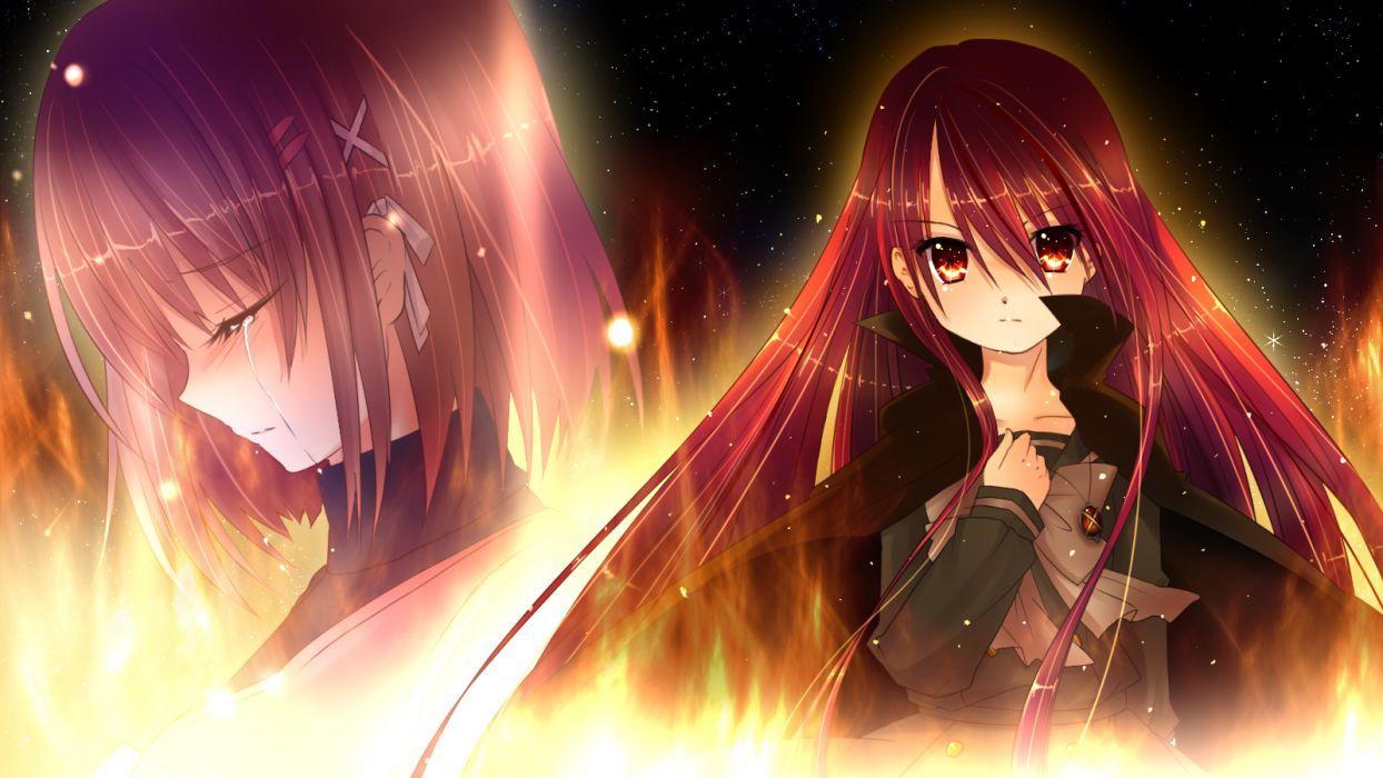 girls red eyes red hair shakugan no shana shana tears yoshida kazumi wallpaper