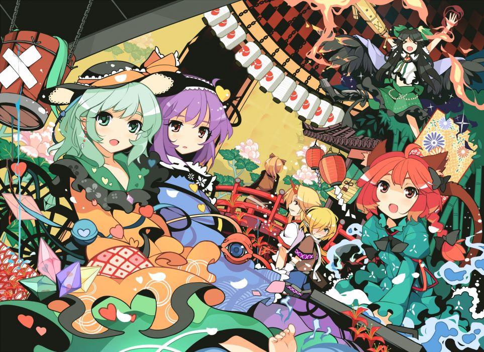 hoshiguma yuugi ideolo kaenbyou rin kisume komeiji koishi komeiji satori kurodani yamame mizuhashi parsee reiuji utsuho sayori touhou wallpaper