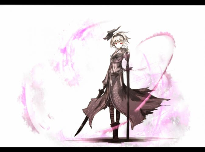 konpaku youmu red eyes shiroganeusagi short hair sword touhou weapon white hair wallpaper