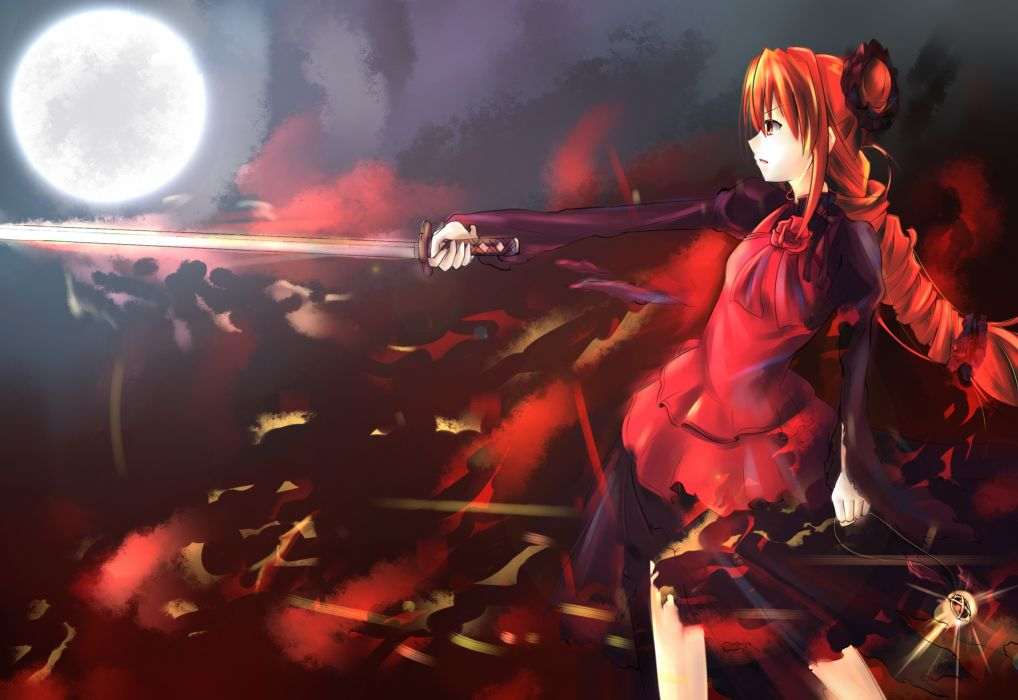 long hair moon red eyes red hair shakugan no shana shana sword weapon wallpaper