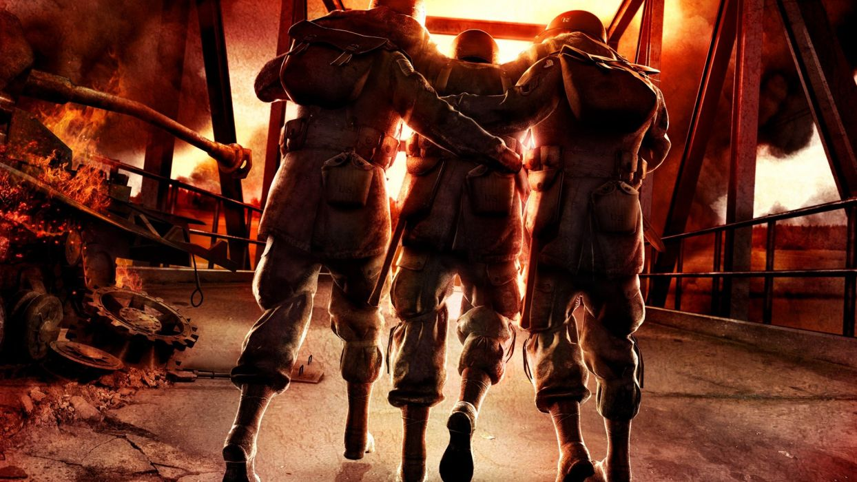 video games highway artwork arms brothers Brothers In Arms: Hell's Highway hells wallpaper