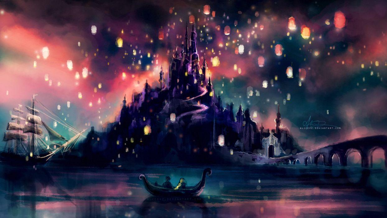 castles lights ships Tangled artwork alice x zhang wallpaper