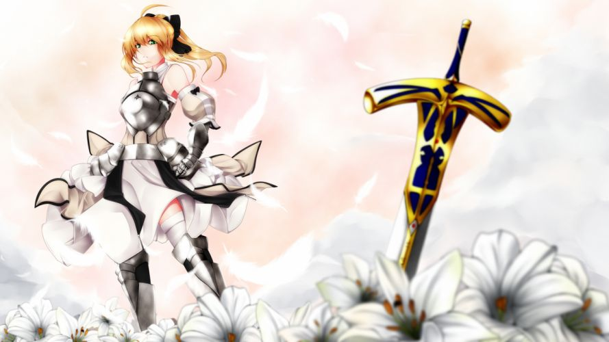 armor blonde hair fate stay night flowers green eyes mayura 90 saber saber lily sword thighhighs weapon wallpaper