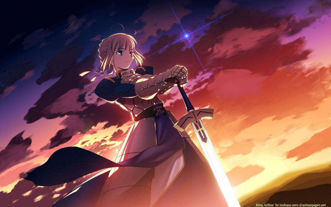 fate stay night photoshop saber sky sword takeuchi takashi watermark weapon wallpaper