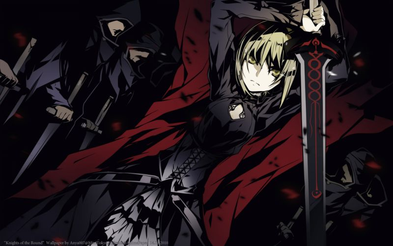 fate stay night saber sword weapon yellow eyes wallpaper