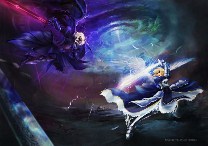 angel armor blonde hair devil fate stay night saber saber alter short hair sword ushas weapon wings wallpaper