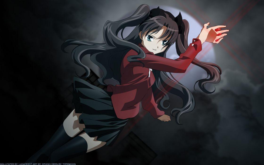 aqua eyes black hair clouds dark fate stay night long hair moon ribbons skirt thighhighs tohsaka rin wallpaper