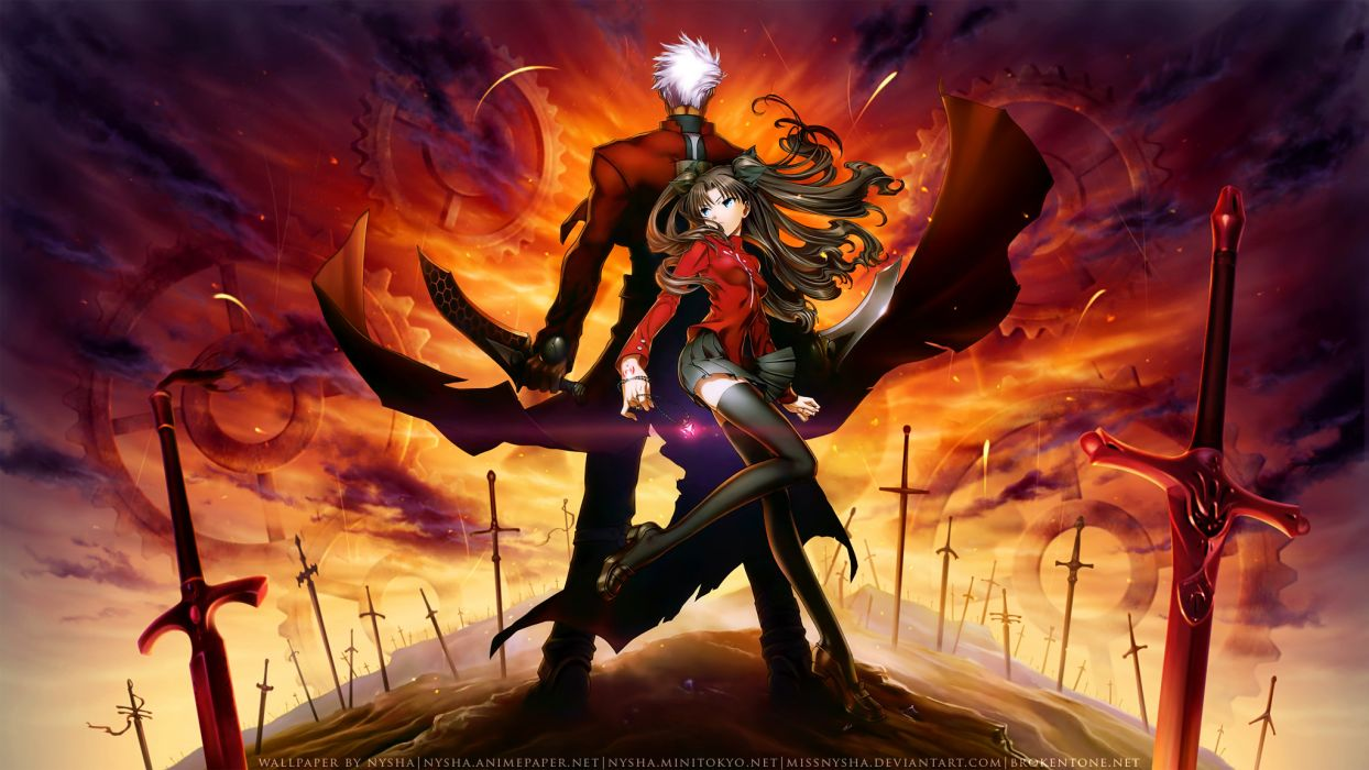 archer fate stay night missnysha tohsaka rin unlimited blade works watermark wallpaper