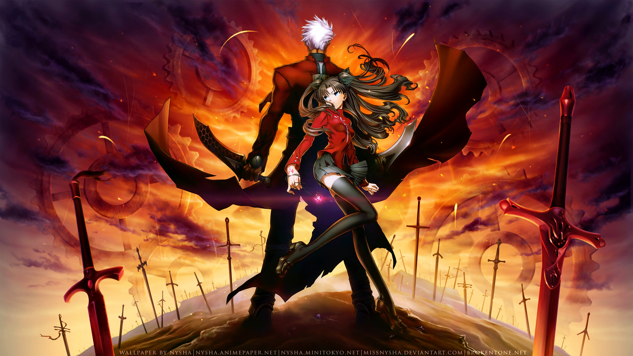 Archer fate stay night missnysha tohsaka rin unlimited blade works watermark wallpaper - Fate stay night wallpaper ...