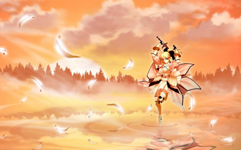 armor blonde hair clouds fate stay night green eyes orange saber lily sword water weapon wallpaper