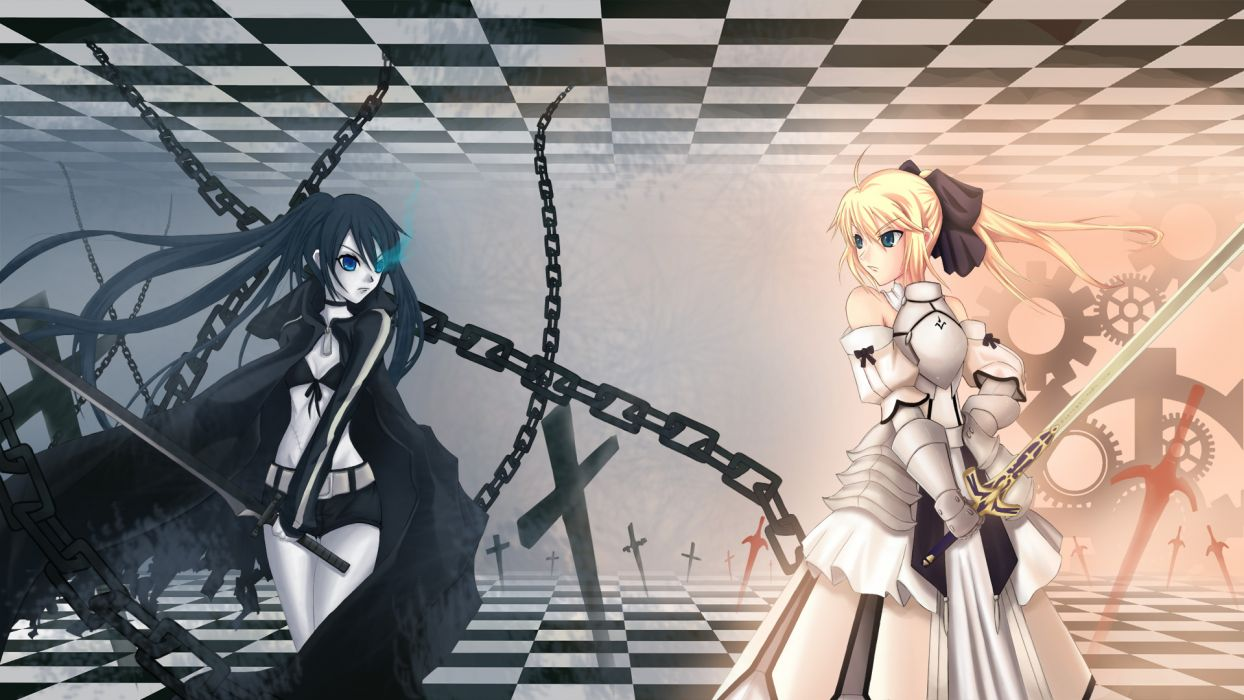 black rock shooter crossover fate stay night fate unlimited codes kuroi mato saber lily wallpaper