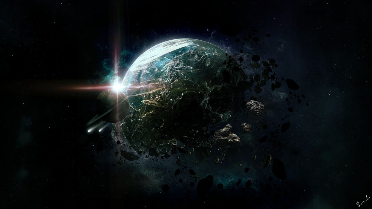art space planet destruction asteroids debris rings stars apocalyptic sci-fi wallpaper