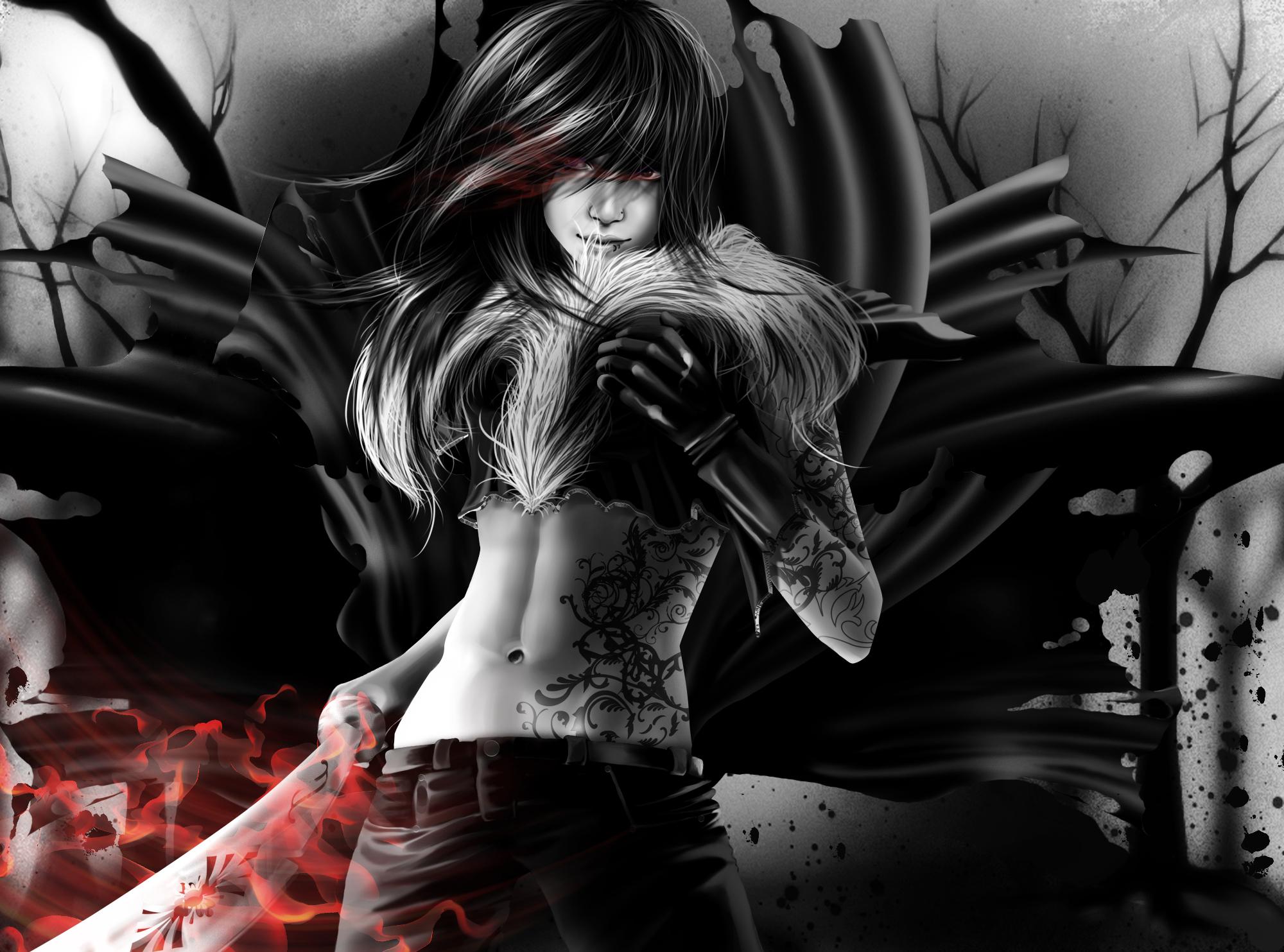Art vampire vampire girl sword black and white tattoo ...