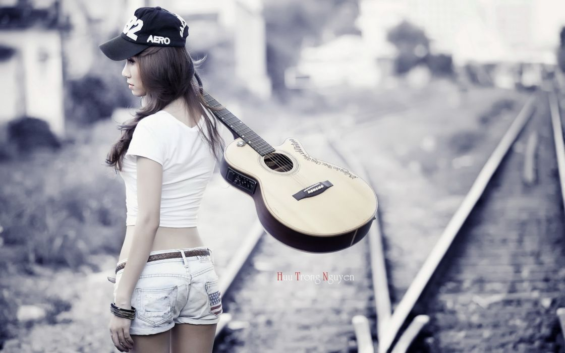 girl guitar music women females mood wallpaper