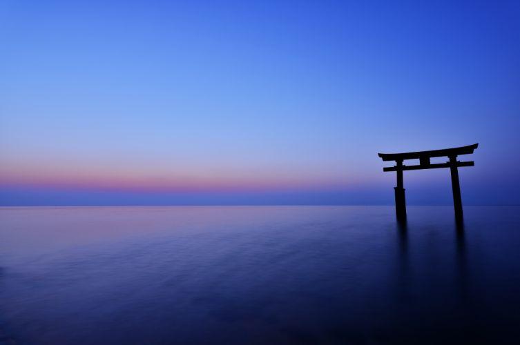 Japan the arch night sunset horizon sea ocean calm sky blue gate wallpaper