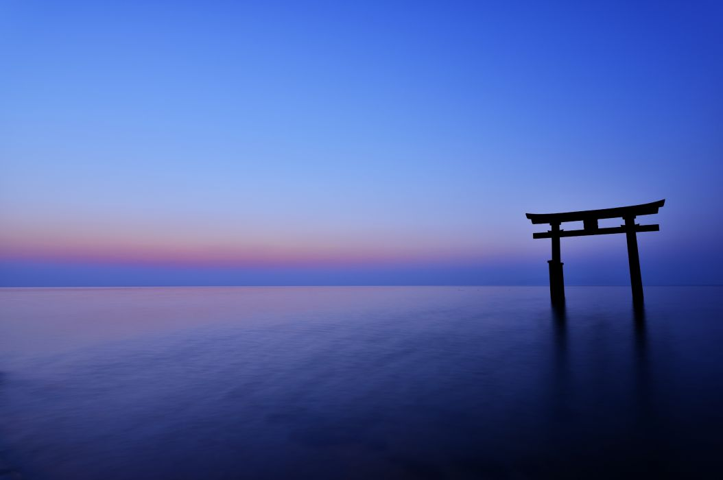 Japan the arch night sunset horizon sea ocean calm sky blue gate wallpaper