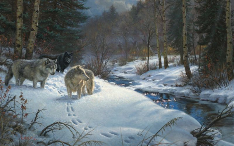Mark Keathley Valley of Shadows painting winter forest creek animals wolves night yurt western art native indian wallpaper