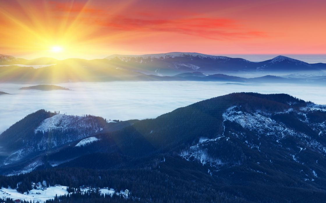 mountains fog sun snow winter dawn sunrise sunsey beams rays fog wallpaper