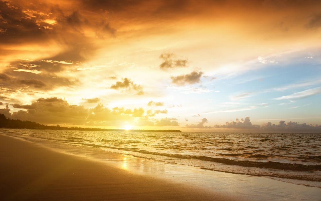 nature landscape sky sand sea beach sunset wallpaper