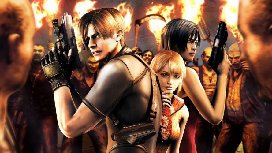 Resident Evil 4 Leon Scott Kennedy Leon Scott Kennedy Ada Wong Ada Wong Ashley Graham Ashley Graham rural residents Torches Guns Pistols Scythes Forks Ammunition Fire Environment wallpaper
